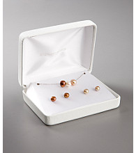 Pearl Pendant and Earrings Box Set - Champagne, White & Chocolate
