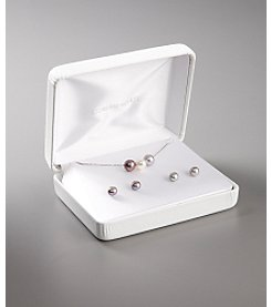 Pearl Pendant and Earrings Box Set - Silver Gray, White & Dark Gray