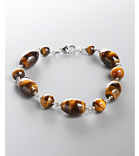 Women's Genuine Stone Tiger-Eye Bracelet