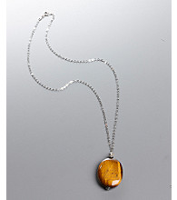 Women's Genuine Stone Tiger's Eye Pendant Necklace