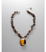 Women's Brown Genuine Stone Crystal Necklace