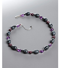 Women's Purple Genuine Stone & Crystal Necklace