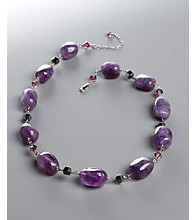 Women's Genuine Stone Amethyst Crystal Necklace