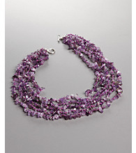 Women's Multi-Strand Genuine Stone Amethyst Toggle Necklace