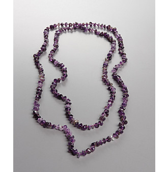 Women's Genuine Stone Amethyst Rope Necklace