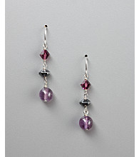 Women's Geniune Stone Amethyst Fish Hook Earrings