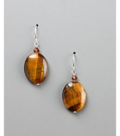 Women's Genuine Stone Tiger's-Eye & Crystal Fish Hook Earrings