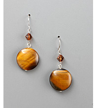 Women's Genuine Stone Tiger's-Eye Fish Hook Earrings - Two