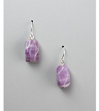 Women's Genuine Stone Amethyst Fish Hook Earrings