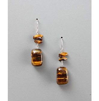 Sterling Silver Genuine Tiger's-Eye Fish Hook Earrings