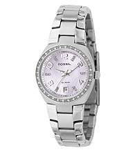 Fossil® Mother-of-Pearl Stainless Steel Glitz Watch - Pink