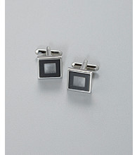 Kenneth Roberts Platinum® Men's Fiber Optic Square Cuff Link - Black/White