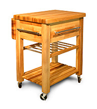 Catskill Craftsmen Kitchen Cart Baby Grand Work Center - Drop Leaf and Wine Rack