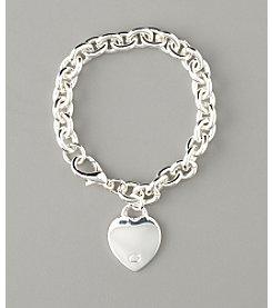GUESS Silvertone Heart Charm Chain Bracelet