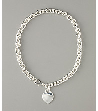 GUESS Heart Charm Chain Necklace - Silvertone