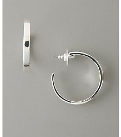 GUESS Medium Thick Hoop Earrings - Silvertone