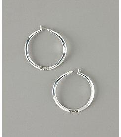 GUESS Medium Wavy Hoop Earrings - Silvertone