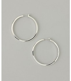 GUESS Medium Silvertone Hoop Earrings