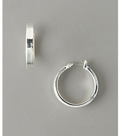 GUESS Small Thick Hoop Earrings - Silvertone