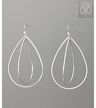 GUESS Drop Within Drop Fishhook Earrings - Silvertone