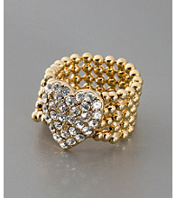 GUESS Crystal & Goldtone Stretch Heart Ring