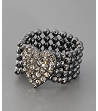 GUESS Crystal Stretch Heart Ring