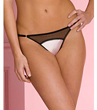 Jezebel Women's Satin Doll Collection Low Rise Black Lace G-String
