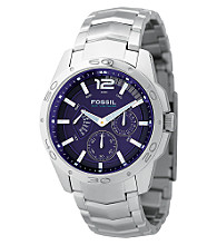 Fossil® Men's Stainless Steel Blue Dial Multi-function Watch