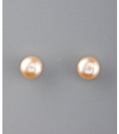 Sterling Silver Champagne Jumbo Freshwater Pearl Stud Earrings