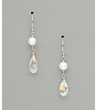 Sterling Silver Freshwater Pearl and Crystal Teardrop Earrings - Clear