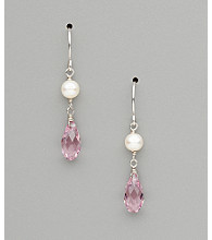 Sterling Silver Freshwater Pearl and Crystal Teardrop Earrings - Light Purple