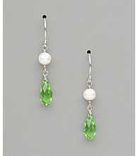 Sterling Silver Freshwater Pearl and Crystal Teardrop Earrings - Peridot