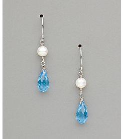Sterling Silver Freshwater Pearl and Crystal Teardrop Earrings - Aqua