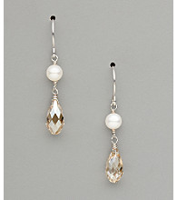 Sterling Silver Freshwater Pearl and Crystal Teardrop Earrings - Golden Shadow