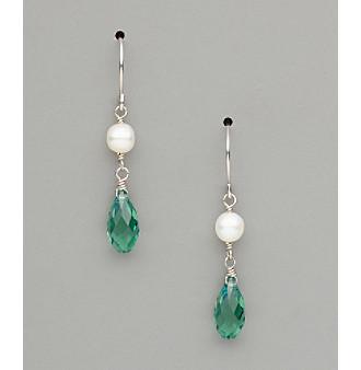 Sterling Silver Freshwater Pearl and Swarovski® Crystal Teardrop Earrings - Erinite