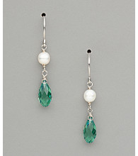 Sterling Silver Freshwater Pearl and Swarovski® Crystal Teardrop Earrings - Erinite