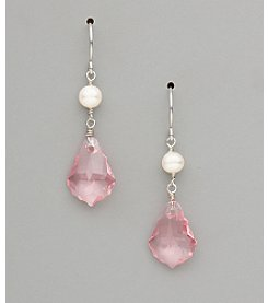 Sterling Silver Freshwater Pearl and Large Crystal Earrings - Light Rose