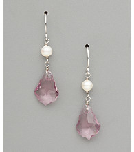 Sterling Silver Freshwater Pearl and Large Crystal Earrings - Light Amethyst