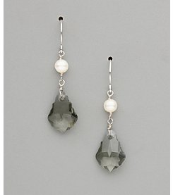 Sterling Silver Freshwater Pearl and Large Crystal Earrings - Black Diamond