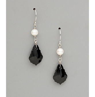 Sterling Silver Freshwater Pearl and Large Crystal Earrings - Jet