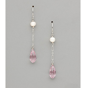 Sterling Silver Freshwater Pearl and Pear Crystal Earrings - Light Amethyst