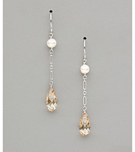 Sterling Silver Freshwater Pearl and Pear Crystal Earrings - Golden Shadow