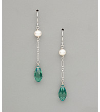 Sterling Silver Freshwater Pearl and Pear Crystal Earrings - Erinite