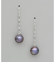 Sterling Silver Freshwater Pearl Potato Earrings - Dark Grey