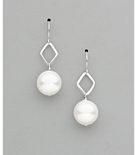 Sterling Silver Freshwater Pearl Diamond Shape Earrings