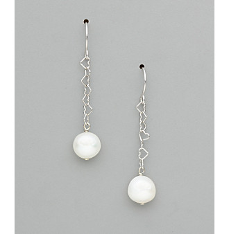 Sterling Silver Freshwater Pearl Potato Earrings - White