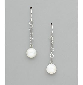 Sterling Silver Freshwater Pearl Potato Earrings - White