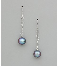 Sterling Silver Freshwater Pearl Potato Earrings - Grey