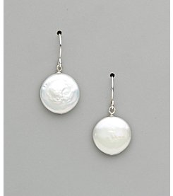 Sterling Silver Freshwater Pearl Small Coin Drop Earrings - White