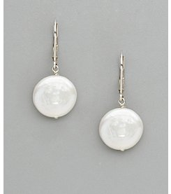 Sterling Silver Freshwater Pearl Large Coin Drop Earrings - White